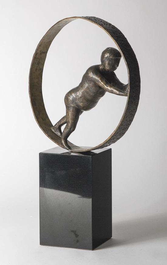 HÅLLA HJULEN RULLANDE – äkta brons