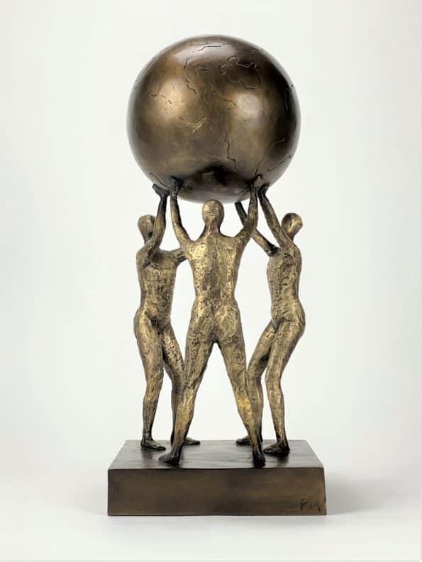 Lyfter i flock - äkte brons